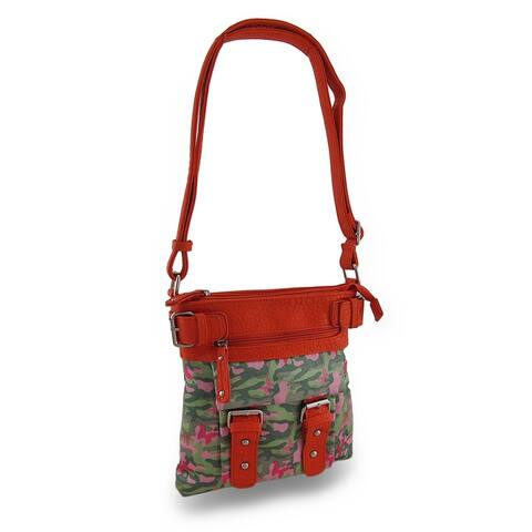 Sparkling Butterfly Camo Textured Vinyl Trim Cross Body Bag w/Adjustable Strap