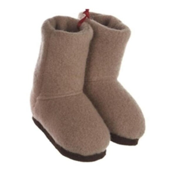 """3"""" Fashion Avenue Tan Plush Winter Boots with Brown Soles Christmas Ornament"""
