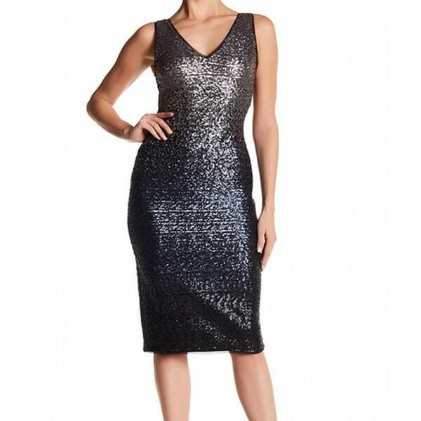 Shop Rachel Roy NEW Silver Womens Size 14 Ombre Sequin V-Neck Sheath ... ba1737628e63