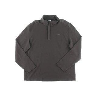 Calvin Klein Mens 1/2 Zip Sweater Textured Mock Neck