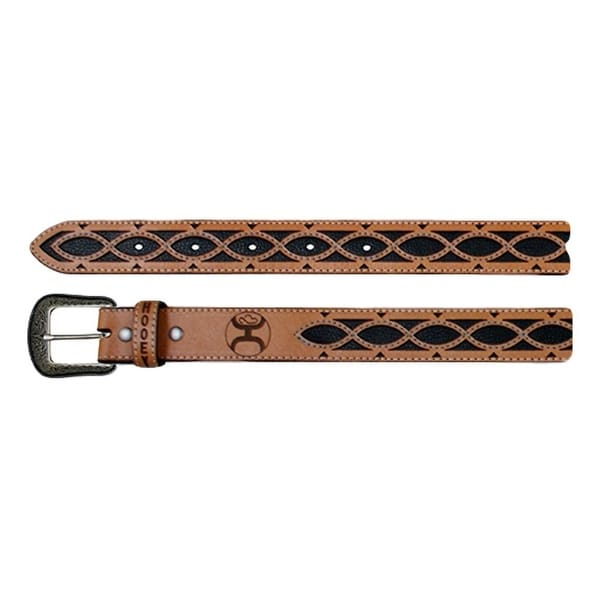 HOOey Western Belt Mens Lace Cut Outs Logo Leather Tan Black