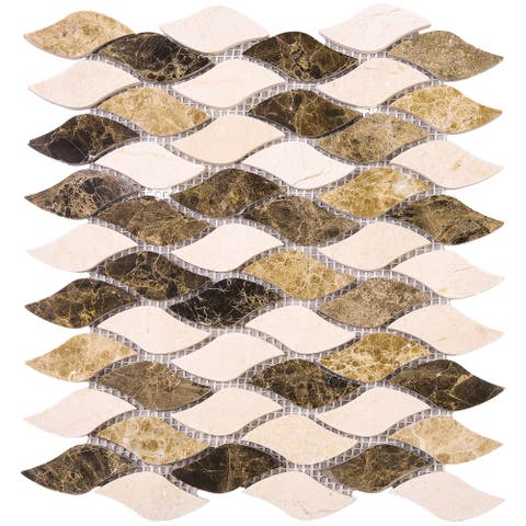 TileGen. Crema Marfil Dynasty Emperador Leaf Shape Marble Tile in Brown/Beige Floor and Wall Tile (10 sheets/8.6sqft.)