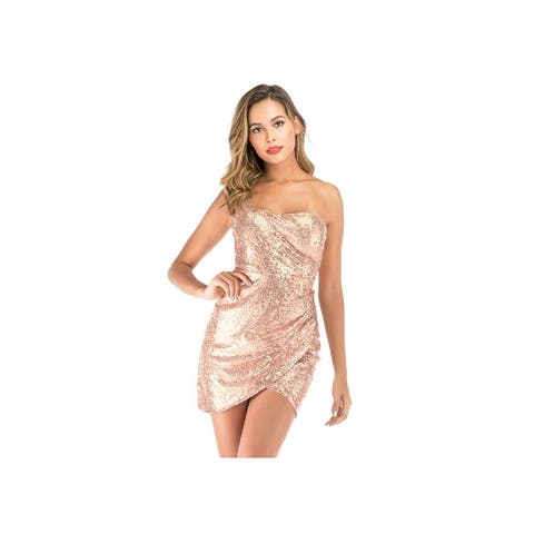 New Sequined Strap Mini Sexy Backless Dress