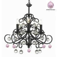 Bellora Crystal Wrought Iron Chandelier Empress Crystal (TM) with Crystal Balls And Pink Balls