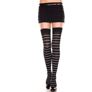 Opaque Fine Striped Thigh Highs, Striped Hosiery - BLACK/WHITE - One Size Fits most