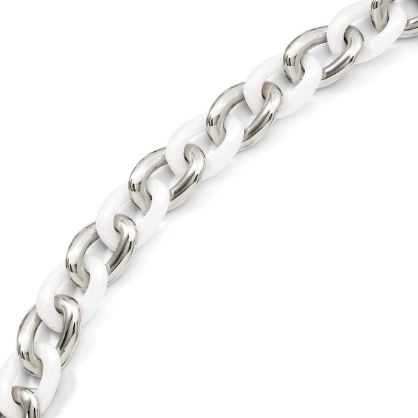 Stainless Steel White Ceramic 7.5in with ext Bracelet