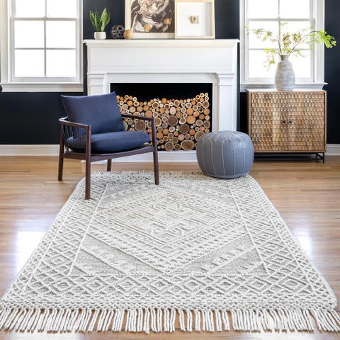 nuLOOM Tenley Hand Woven Wool Transitional Tassels Area Rug