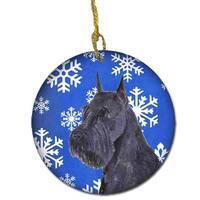 Schnauzer Winter Snowflakes Holiday Christmas Ceramic Ornament
