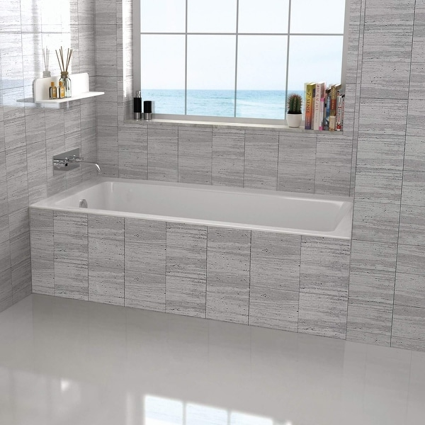 Fine Fixtures Tile-In White Soaking Bathtub, Built in tile flange Fiberglass Acrylic Material. Opens flyout.