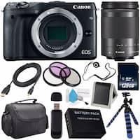Canon EOS M3 Mark III 24.2 Mp Mirrorless Camera (International Model No Warranty) (Black) + Canon EF-M 18-150 STM Lens Bundle