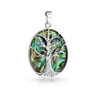 Oval Abalone Shell Celtic Tree of Life Pendant Sterling Silver Necklace 18 Inches