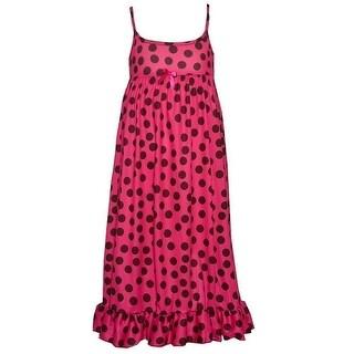 Little Girls Fuchsia Black Polka Dot Ruffle Hem Spaghetti Strap Nightgown (4 options available)