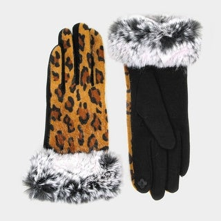 Link to Amtal Women Leopard Design Faux Fur Trim Smart Touch Winter Gloves Similar Items in Gloves