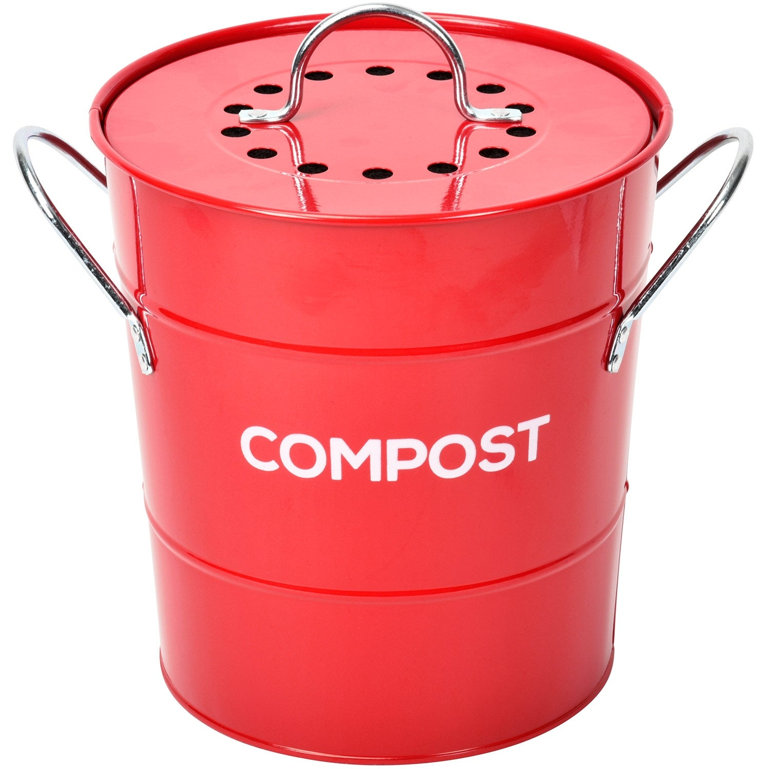 Spigo Steel Kitchen Compost Bin With Vented Charcoal Filter and Bucket,  Red, 1 Gallon