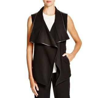 Vince Womens Vest Wool Blend Leather Trim