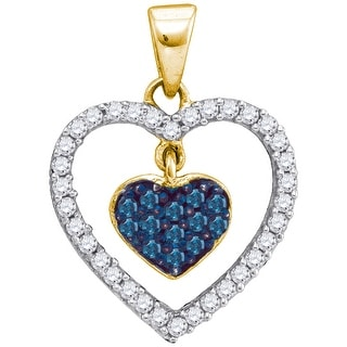 Heart Pendant 10K Yellow-gold With Blue and White Diamonds 0.33 Ctw By MidwestJewellery