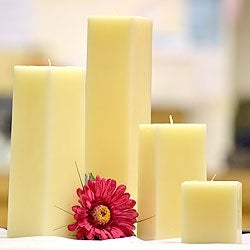 1 Pc Ivory Square Candles 9 Inch 3 in. diameterx9 in. tall