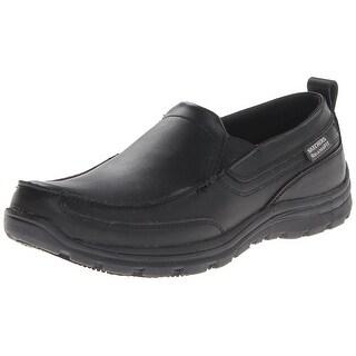 Skechers for Work Men's Hobbes Relaxed Fit Slip Resistant Work Shoe,Black