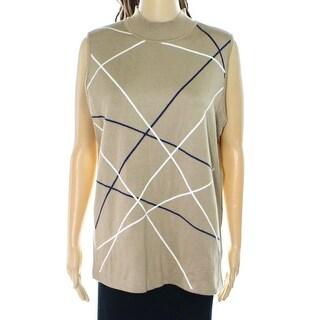INC NEW Beige Womens Size XL Vest Mock-Neck Printed Sleeveless Sweater