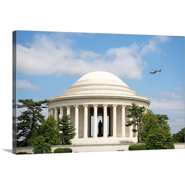 """""""Helicopter flying over Jefferson Memorial, Washington DC, United States"""" Canvas Wall Art"""