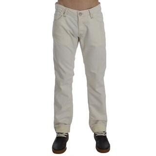 ACHT Beige Cotton Stretch Regular Fit Jeans - w34