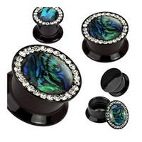 Black Acrylic Double Flat Flare Gemmed Rim and Abalone Inlay Center Screw Fit Plug (Sold Individually)