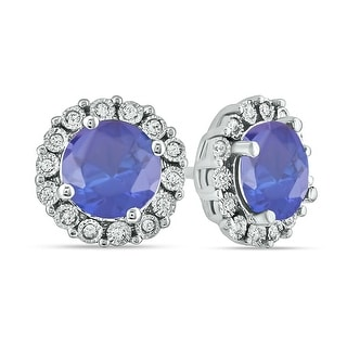 Link to Cali Trove 1/15 Cttw Diamond Blue Sapphire Fashion Earring in Sterling Silver Similar Items in Earrings