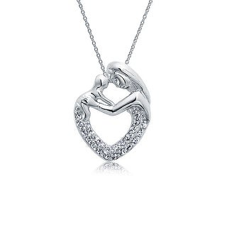 Bling Jewelry .925 Silver Mother and Child Family Pave CZ Heart Pendant