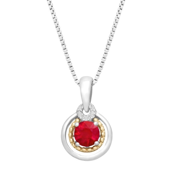 3/4 ct Natural Ruby Pendant with Diamonds in Sterling Silver & 14K Gold - Red