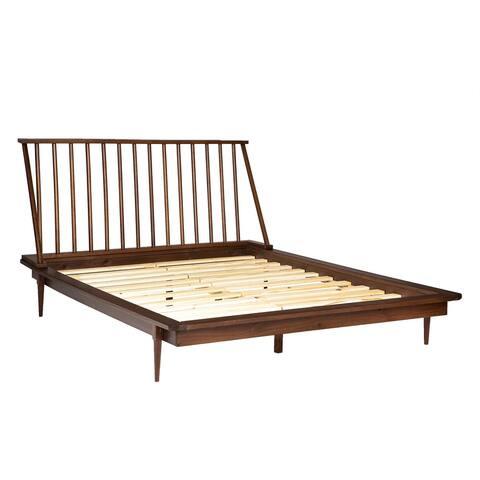 Delacora WE-BDQSPIN Queen Wooden Modern Platform Bed Frame
