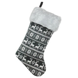 shop 155 gray and white reindeer and snowflake knit christmas stocking with faux fur cuff free shipping on orders over 45 overstockcom 18293960