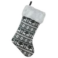 "15.5"" Gray and White Reindeer and Snowflake Knit Christmas Stocking with Faux Fur Cuff"