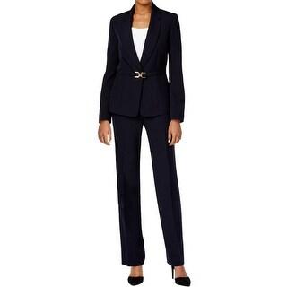 Tahari ASL Womens Pant Suit Crepe Belted