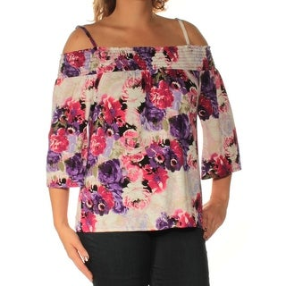 Womens Purple White Floral 3/4 Sleeve Square Neck Casual Top Size M
