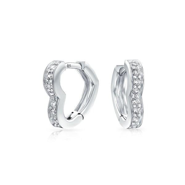 Bling Jewelry 925 Silver Cz Open Heart Leverback Hoop Earrings