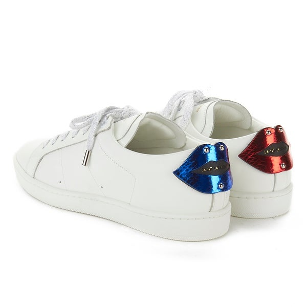 2500c0686670 Saint Laurent Men  x27 s Leather Signature Court Classic Lips Sneaker Shoes  White