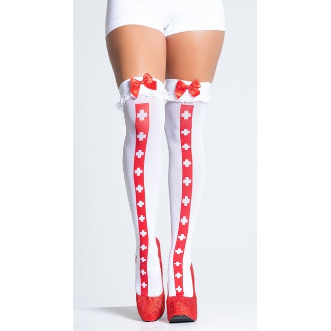 Back Seam Thigh High Stockings Dreamgirl Backseam Bow Thigh Highs