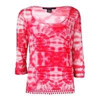 INC International Concepts Women's Crochet-Trim Mesh Top - optical tie dye