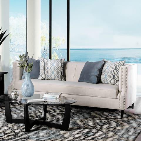 Furniture of America Nall Contemporary Fabric Tufted Tuxedo Sofa