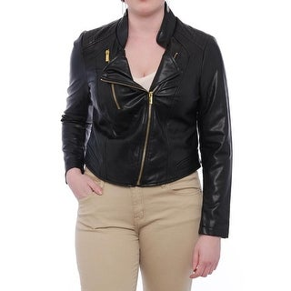 Thalia Sodi  Core Cropped Motorcycle Jacket Motorcycle Deep Black