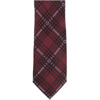 Ryan Seacrest Red Studio Plaid Pattern Men's Silk Woven Skinny Neck Tie 241