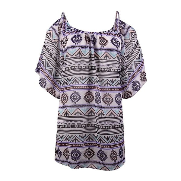 Miken Women's Tribal Cold-Shoulder Chiffon Swim Cover - white/purple/haze