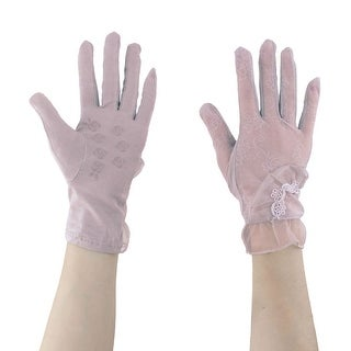 Adult Lady Outdoor Driving Flower Decor Thin Sun Resistant Gloves Purple Pair