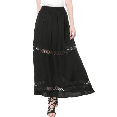 Allegra K Women Elastic Waist Lace Insert A Line Maxi Skirt