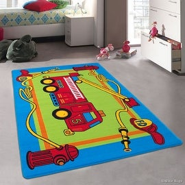 "Allstar Kids / Baby Room Area Rug. Fire Truck Green Blue and Red Bright Colorful Vibrant Colors (3' 3"" x 4' 10"")"