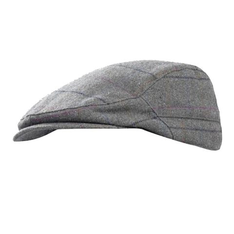 Mens Checked Wool Blend Winter Flat Cap - M/L