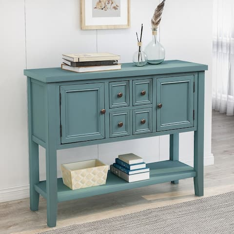 Dark Blue Buffet Sideboard Console Table with Bottom Shelf