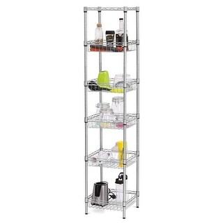 LANGRIA Heavy Duty 6-Tier Shelving Units, Storage Rack Corner Organization Shelf, Silver