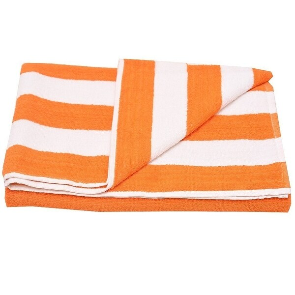 "Oxford Girls Orange White Stripe Pattern Bath Sheet Beach Towel 32""x65"""