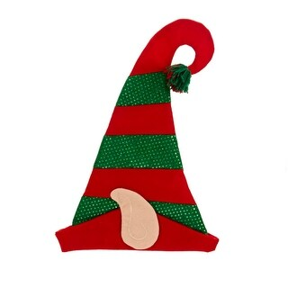 """Pack of 6 Christmas Brites Red Striped with Hologram Green Sequence Felt Elf Hat 17"""""""